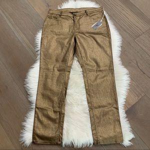 🔥 Dollz Gold Metallic Jeans NWT 12